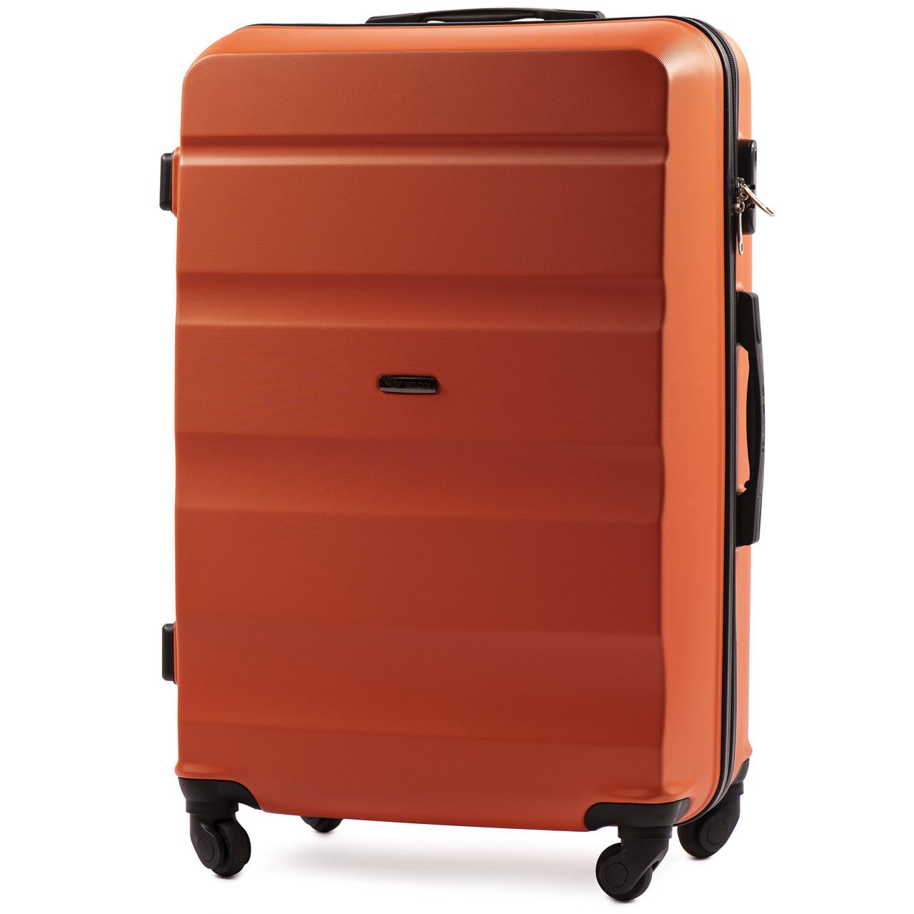 Средний пластиковый чемодан Wings AT01 на 4 колесах оранжевый