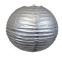 Бумажный подвесной шар серебро, 30 см