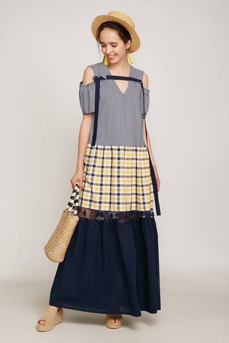 2192 платье Канон, синий с желтым (46-48)