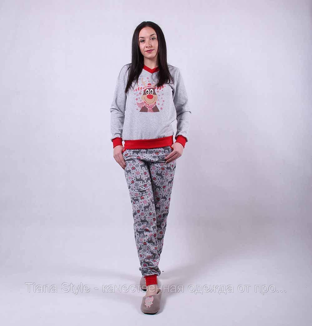 """Теплая женская пижама """"Олени-new"""" р. 42-54 р"""