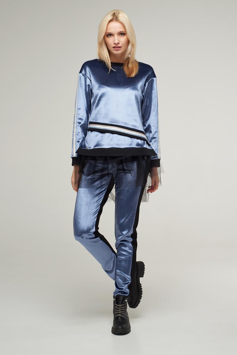 2237 костюм брюки Лакшери, голубой (L)