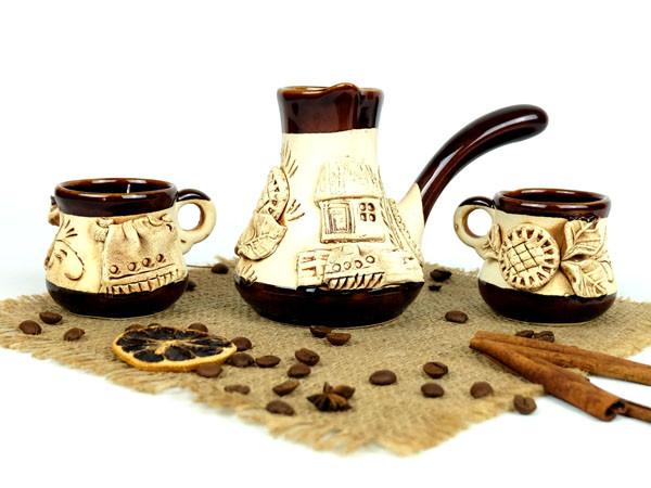 Турка лепной декор керамическая с чашками 150 мл