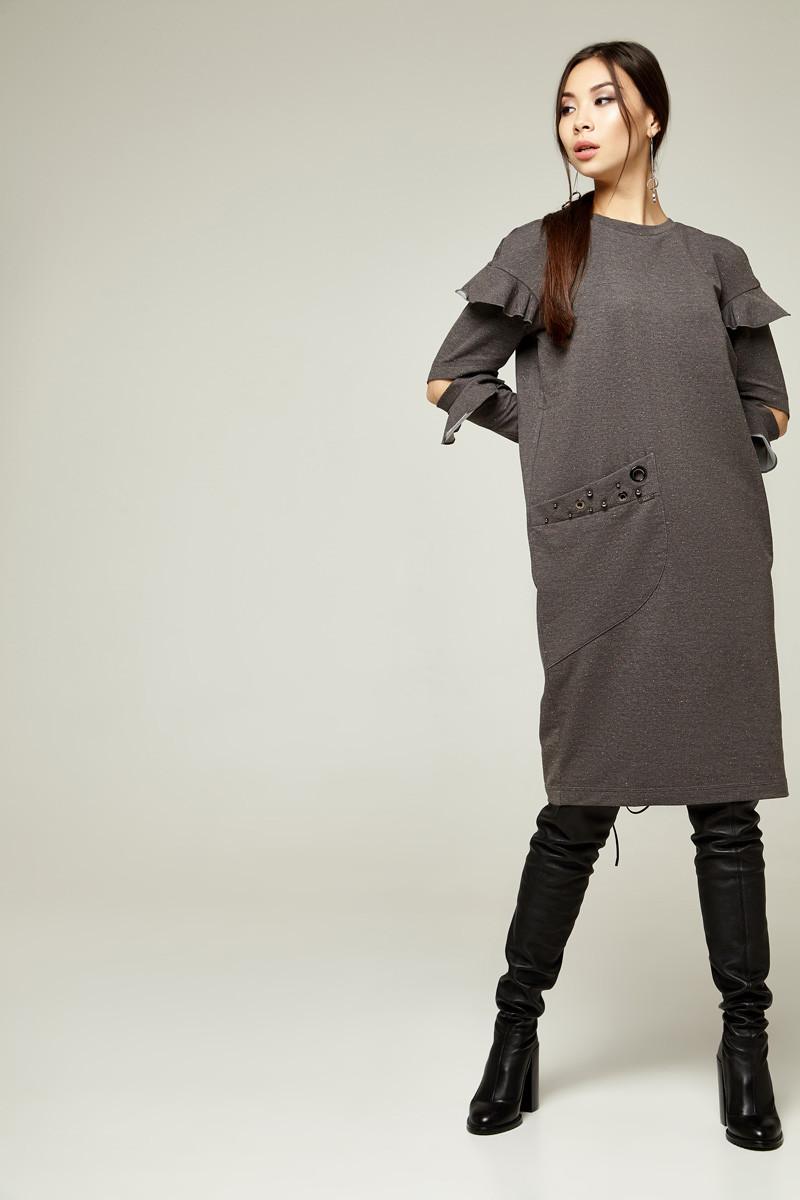 2236 платье Шана,брызги серый (L)
