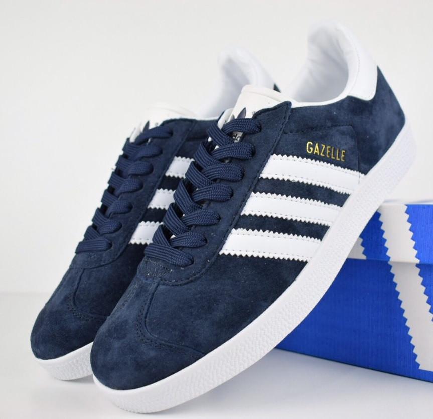 Мужские кроссовки в стиле Adidas Gazelle Blue white Suede. Живое фото