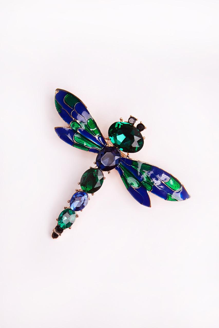 АП-425 брошь Стрекоза, сине-зеленый (one size)