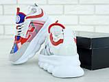Кроссовки женские Versace Chain Reaction Sneakers в стиле версаче белые (Реплика ААА+), фото 5