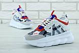 Кроссовки женские Versace Chain Reaction Sneakers в стиле версаче белые (Реплика ААА+), фото 6