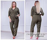 Модный стильный женский брючный комбинезон на запах с поясом и карманами хаки 42-44 46-48 50-52 54-56, фото 1