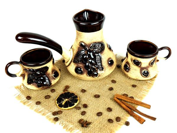 Турка «Кофейная веточка» керамическая с чашками 500 мл