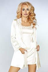 Женский комплект двойка пеньюар с халатом Jacqueline Livia Corsetti, молочный / комплект для дома и сна