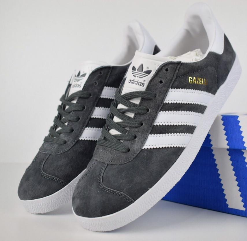 Мужские кроссовки в стиле Adidas Gazelle gray Suede. Живое фото