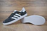 Мужские кроссовки в стиле Adidas Gazelle gray Suede. Живое фото, фото 2