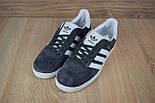 Мужские кроссовки в стиле Adidas Gazelle gray Suede. Живое фото, фото 5