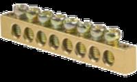 Нулевая шина без изолятора 6х9, 63А, на 14отв., 1отв. центральное крепление, CNC