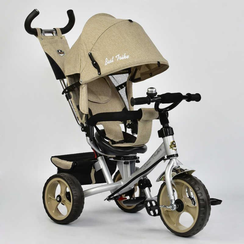 Велосипед 3-х кол. 5700 - 3540 (1) /БЕЖЕВЫЙ/ Best Trike ткань лён, поворотное сидение, колеса EVA  (пена)