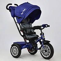 Велосипед 3-х кол. 6188 В - 8340 (1) /СИНИЙ/ Best Trike поворотное сидение, надувные колеса, фара со светом и звуком, кажанный бампер и ручки