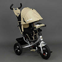 Велосипед 3-х кол. 6588 В (1) Best Trike БЕЖЕВЫЙ серебристая рама, надувные колеса d=29см. переднее, d=26см задние, фара, ключ зажигания
