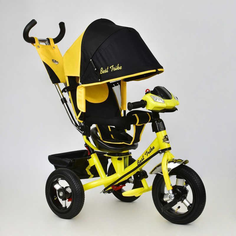 Велосипед 3-х кол. 7700 В - 6120 (1) /ЖЕЛТЫЙ/ Best Trike поворотное сидение, надувные колеса