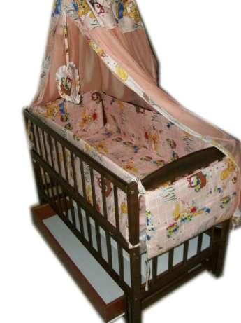 """Акция! Кроватка маятник """"Малыш Люкс"""" с ящиком матрас кокос постельный набор 8 эл."""