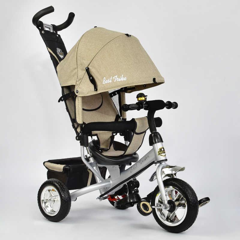 Велосипед 6588 - 0450 (1) /БЕЖЕВЫЙ/ Best Trike ткань лён, колесо пена, переднее колесо d=25см., задние d=20см.