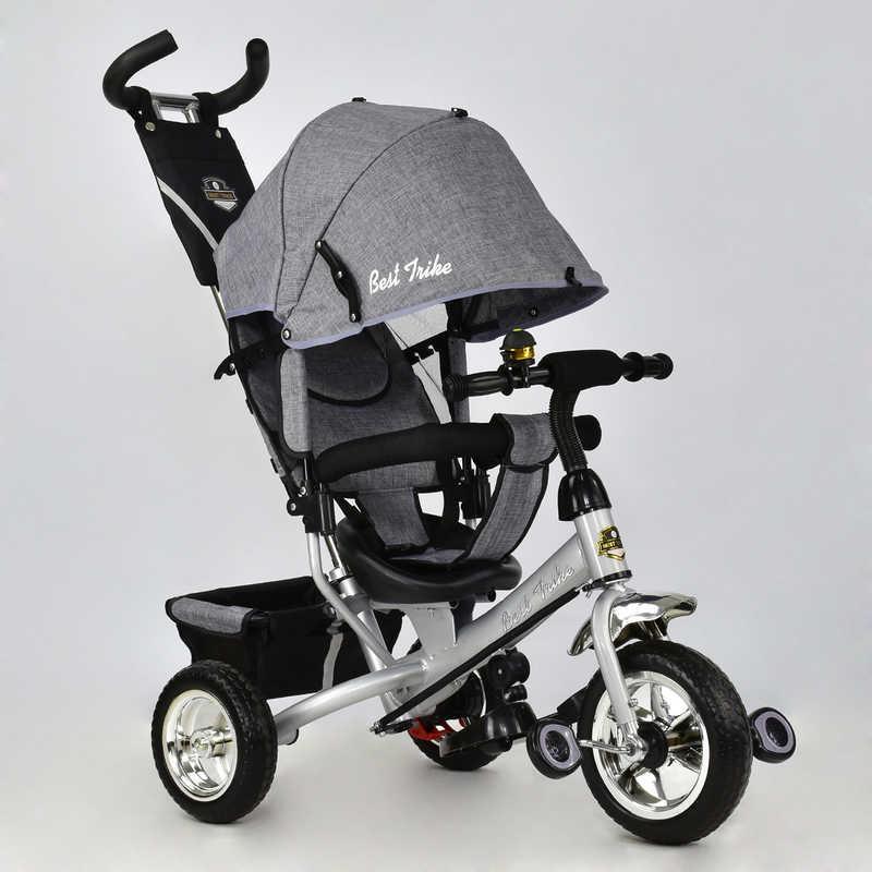 Велосипед 6588 - 0560 (1) /СЕРЫЙ/ Best Trike ткань лён, колесо пена, переднее колесо d=25см., задние d=20см.