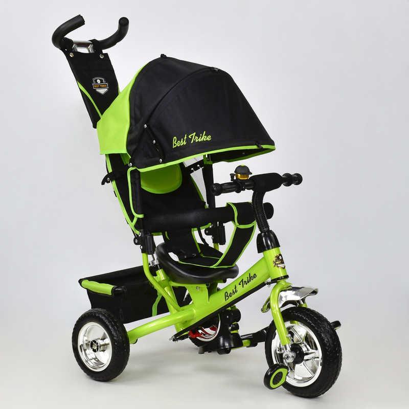 Велосипед 6588 - 1020 (1) /САЛАТОВЫЙ/ Best Trike ткань лён, колесо пена, переднее колесо d=25см., задние d=20см.