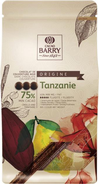 Черный шоколад Tanzanie 75% 100 г, Cacao Barry