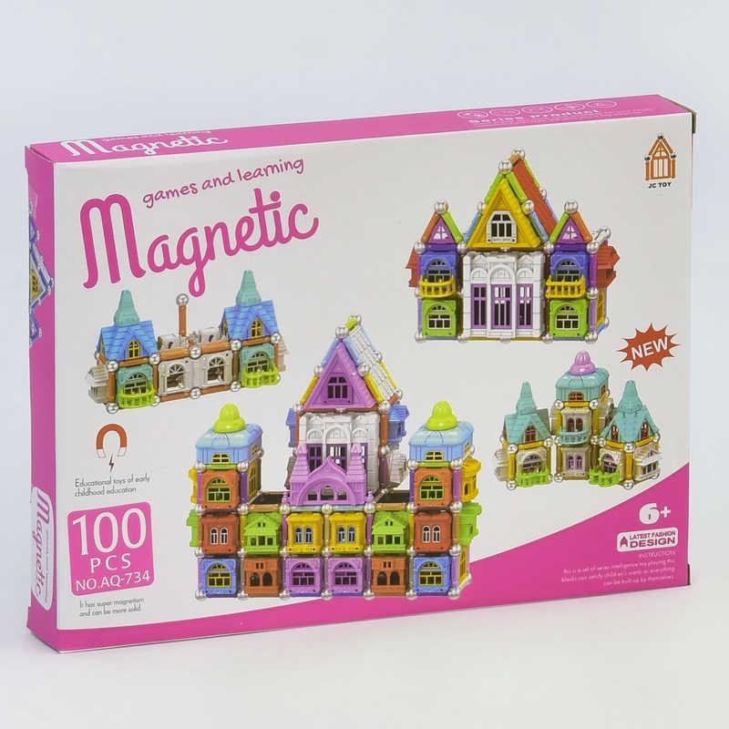 Конструктор магнитный Замок AQ - 734 (48) 100 деталей, в коробке