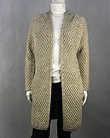 Кардиган женский теплый вязаный бежевый свободного фасона с карманами