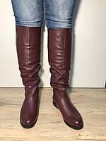 Женские демисезонные кожаные сапоги цвет марсала ec8be032a02e1