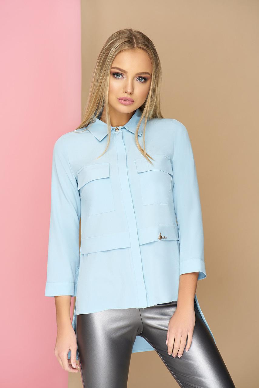Стильная женская удлиненная рубашка голубая
