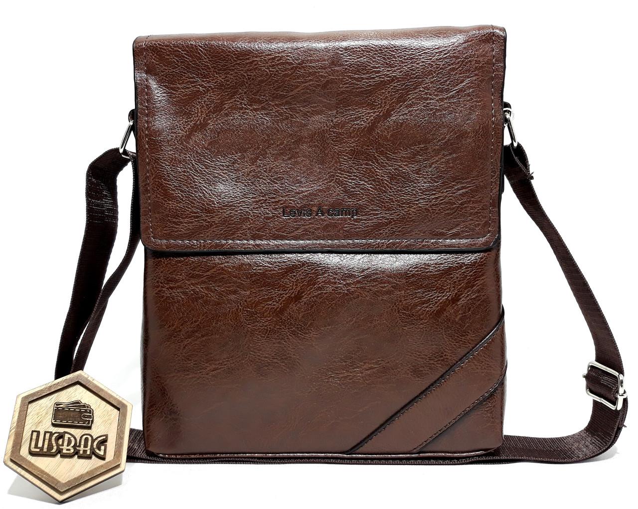 ae11e7aa7d8e Мужская вместительная сумка через плечо Levis Темно-коричневого цвета