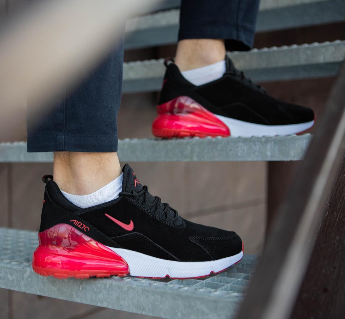 Мужские кроссовки Nike Air Max 270 (2019) черные с красным топ реплика