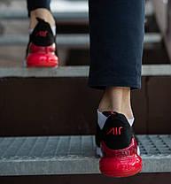 Мужские кроссовки Nike Air Max 270 (2019) черные с красным топ реплика, фото 2