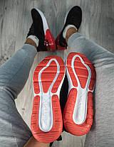 Мужские кроссовки Nike Air Max 270 (2019) черные с красным топ реплика, фото 3