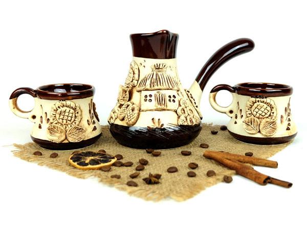 Турка лепной декор керамическая с чашками 500 мл + рассекатель