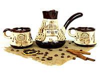 Турка лепной декор керамическая с чашками 500 мл