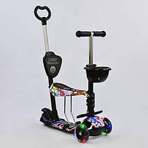 Самокат 5в1 68990 (1) Best Scooter, АБСТРАКЦІЯ, PU колеса, ПІДСВІЧУВАННЯ КОЛІС, в коробці