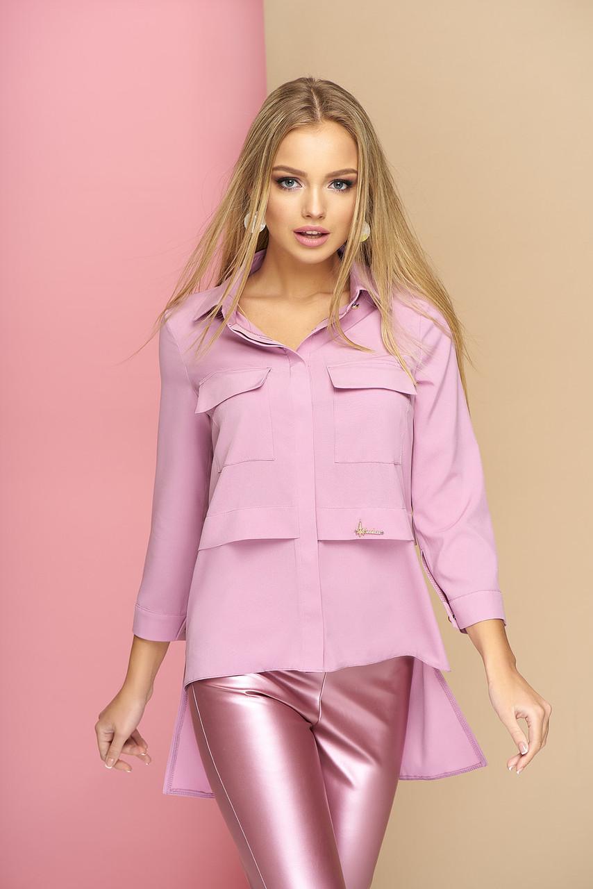 Стильная женская удлиненная рубашка однотонная сиреневая