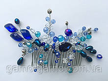 Гребінь з кришталевими намистинами Небесно Блакитний Весільна прикраса у зачіску