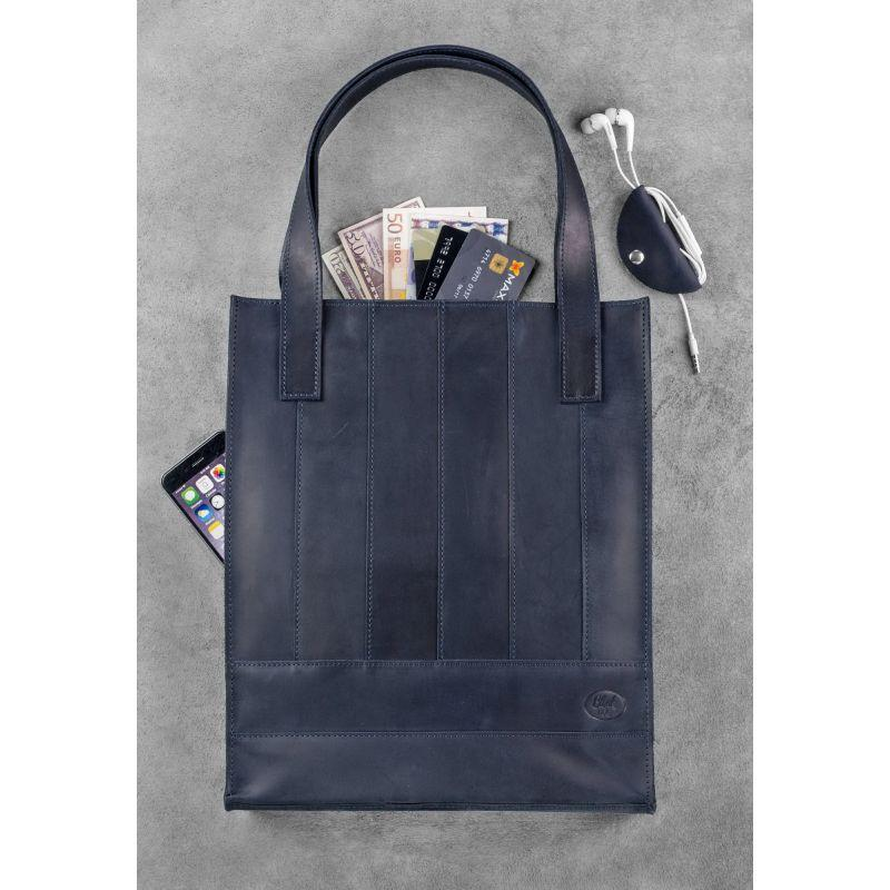 4f875227365f ... Модная кожаная винтажная сумка шоппер темно-синяя ручная работа , фото 3  ...