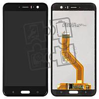 Дисплейный модуль (экран и сенсор) для HTC U11, черный - Brilliant Black, оригинал