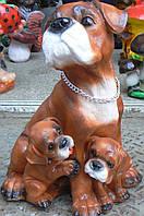 Фигурка для сада Боксер с щенками 33 см.