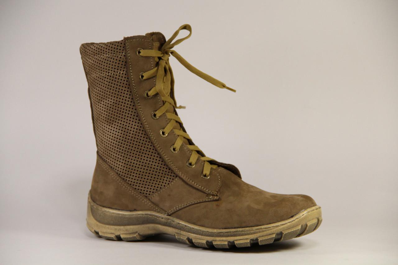 Тактические ботинки из натуральной кожи БЕРЦЫ Бежевая перфорация пена