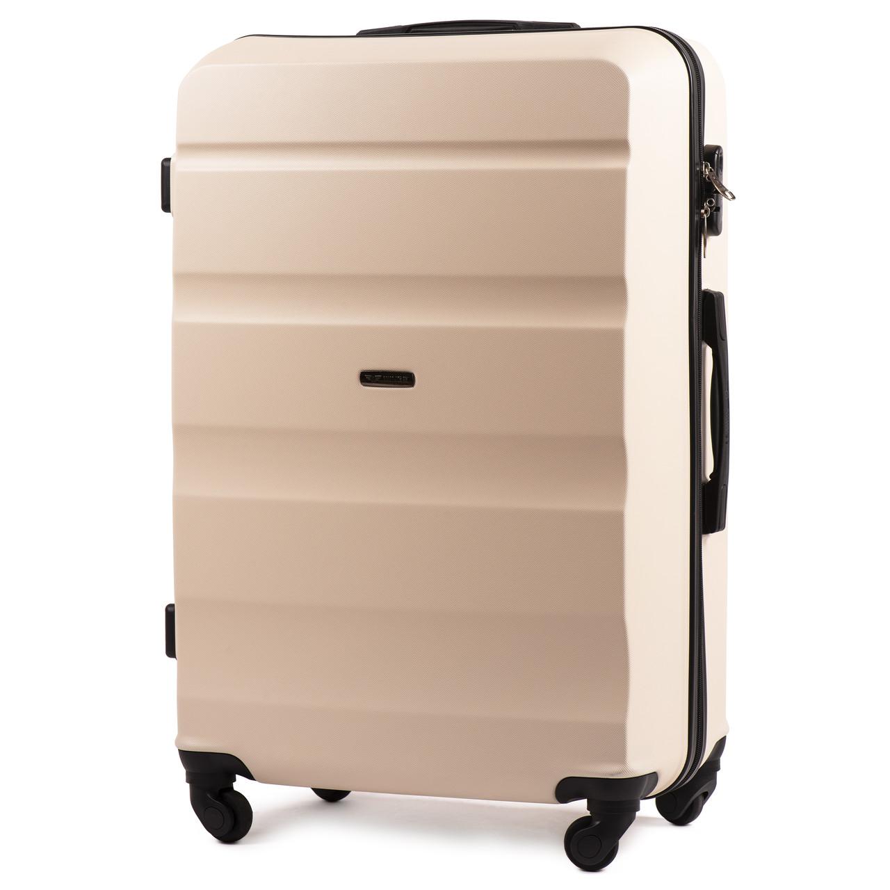 Малый пластиковый чемодан Wings AT01 на 4 колесах бежевый