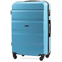 Малый пластиковый чемодан Wings AT01 на 4 колесах голубой, фото 1