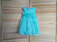 """Нарядные платья для маленьких девочек код: 7010, цвет """"ментол"""", размеры: от 80 до 134"""