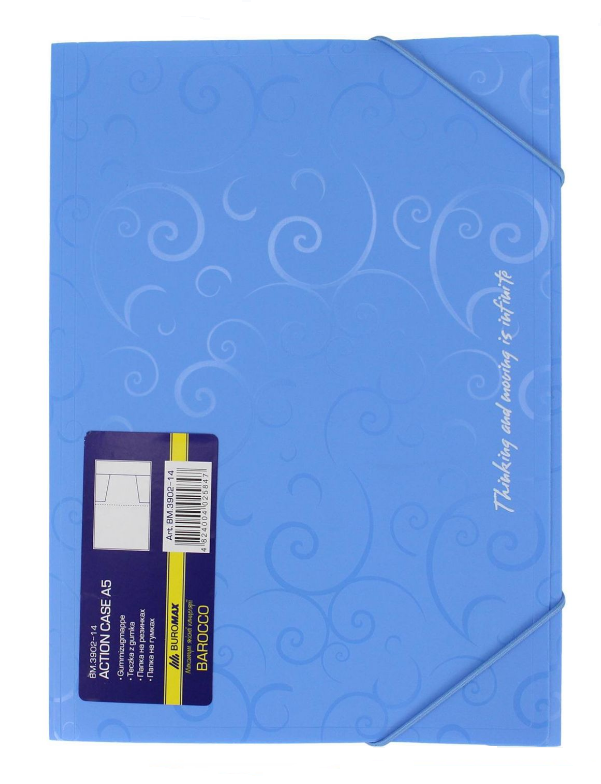Папка пластикова А5 на гумках блакитний Barocco