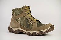 """Ботинки тактические, берцы летние из натуральной кожи и ткани пиксель """"Ботинок пиксель 019"""""""