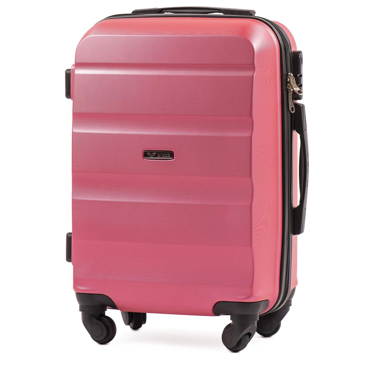 Микро пластиковый чемодан Wings AT01 на 4 колесах розовый